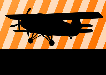 Airplane flying vector background for poster