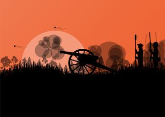 Old civil war battle field warfare soldier troops and artillery