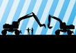 Excavator tractors detailed silhouettes illustration in construc