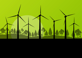 Green wind electricity generators grass ecology concept illustra