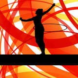 Rhythmic gymnastic background woman with hoop ring vector poster