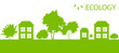 Green Eco city or village ecology vector background