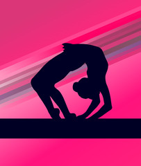 Rhythmic Gymnastics woman with clubs vector background
