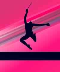 Rhythmic Gymnastics woman with clubs vector background