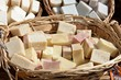 Handmade soap stacked in wicker basket