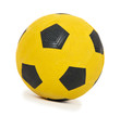 Children's yellow football ball, isolated on white