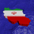 Iran map flag in abstract ocean illustration
