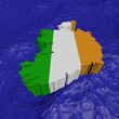 Ireland map flag in abstract ocean illustration