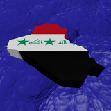 Iraq map flag in abstract ocean illustration