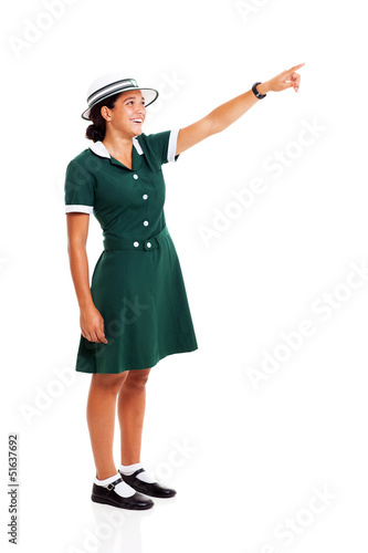 female middle school student pointing
