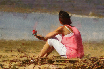 Pink Lady with Rose on Beach Painting