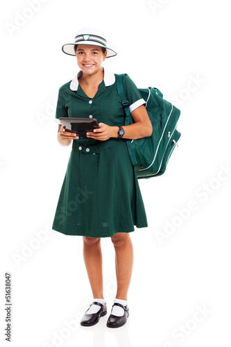 teenage school girl holding tablet computer