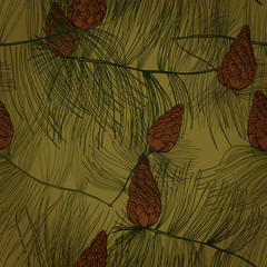 Seamless pattern with pine tree branches and cones. Eps10