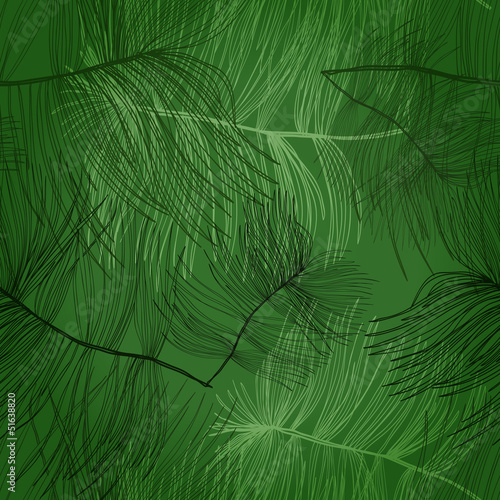 Seamless hand drawn pattern with pine tree branches. Eps10