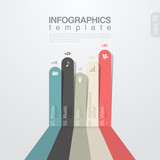 Infographics design template. Colored Lines graph.