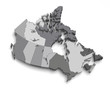 3d grey canada map on white