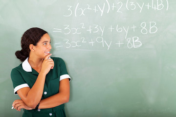 female high school student in classroom