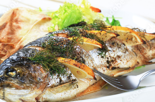 Lemon dill trout with baked potato