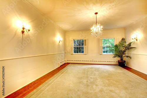 Empty luury antique large dining room interior with white walls.