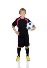 Preteen with a uniform for play soccer