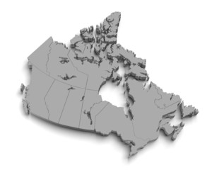 3d canada map on white
