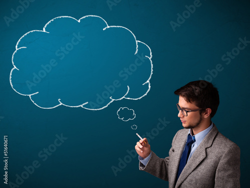 Young man smoking cigarette with idea cloud