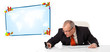 Businessman sitting at desk with copy space