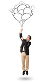 Happy man holding balloons drawing