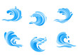 Set of blue sea waves