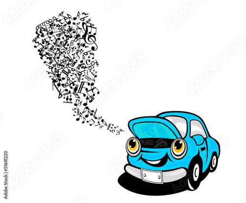 Blue car sing a song