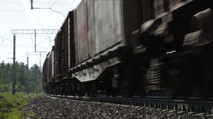 Freight train in motion, loop, Trans-Siberian Railway, Russia