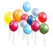 Aufsteigende bunte Luftballons freigestellt