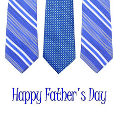 Happy Fathers Day text with group of blue ties