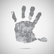 Grey hand Print icon on white background. vector illustration