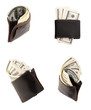 The stack of dollars with leather purse
