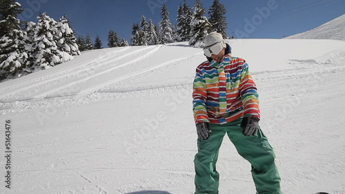 Snowboarder performing tricks