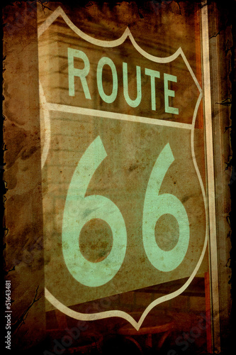 Poster Vintage Poster Retroplakat - Route 66