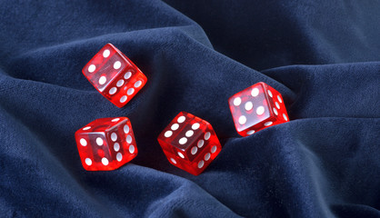 Red transparent playing bones
