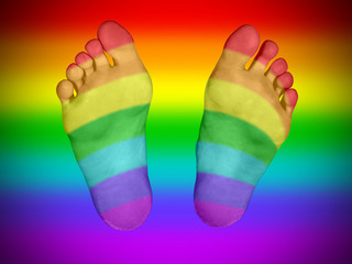 Feet with rainbow flag pattern