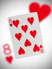 Playing card, eight of hearts