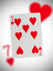 Playing card, seven of hearts