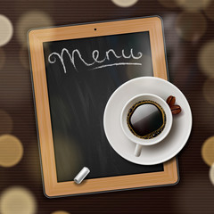 Menu blackboard with cup of coffee, vector Eps10 illustration.