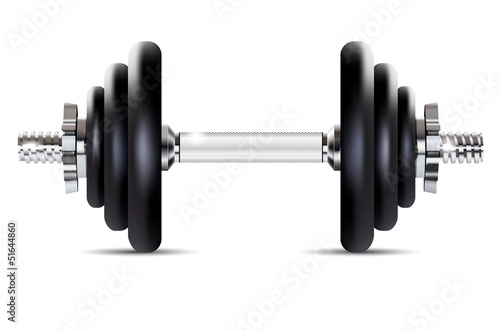 Metal dumbbell - isolated on white