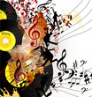 Artistic music background with vinyl record  and notes in psyche