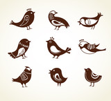 set of cute decorative birds