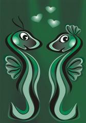 Две зеленые подводные змеи дракона