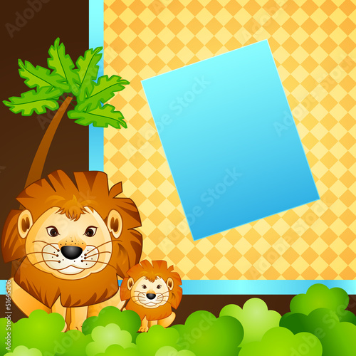 vector illustration of baby and mother lion in jungle