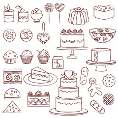 Hand drawn confectionery symbols set