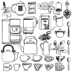 Hand drawn tea related symbols set