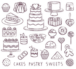 Hand drawn vintage sweets related symbols